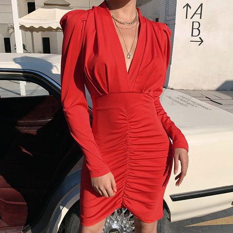 Deep V Temperament Long Sleeve Hip Dress