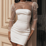 Sexy Round Neck High Waist Long Sleeve Dress