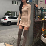 Round Neck Skinny Women's Long Sleeve Dress