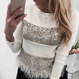 Design Sequined Long Sleeve T-Shirt