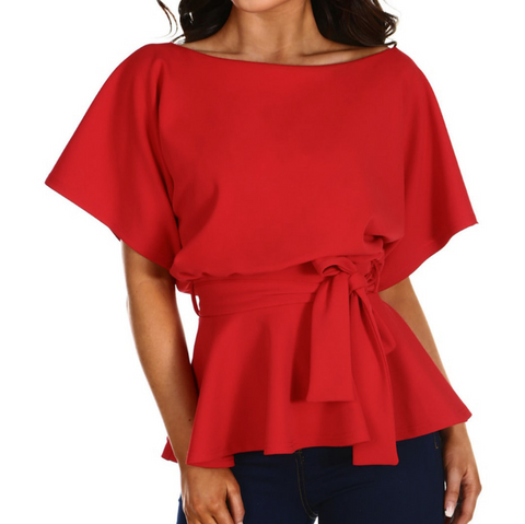 Elegant Solid Color Short-Sleeved Top