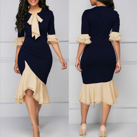 Sexy Long Sleeve Round Neck Dress