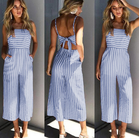 Fashion Stripes Sexy Backless Bowknot Sling Jumpsuit