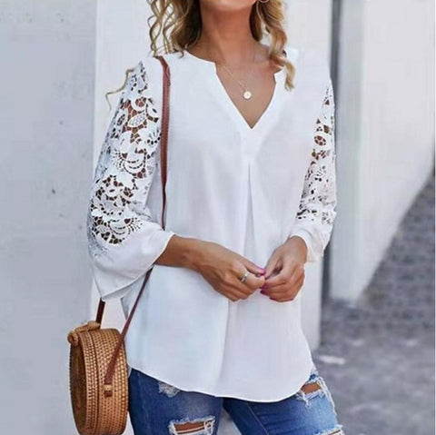 Women'S Lace Splicing V-Neck Shirt