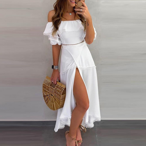 Strapless Solid Color Ruffle Two-Piece Set