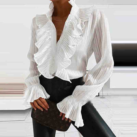 Solid Color Ruffled Long Sleeve Shirt