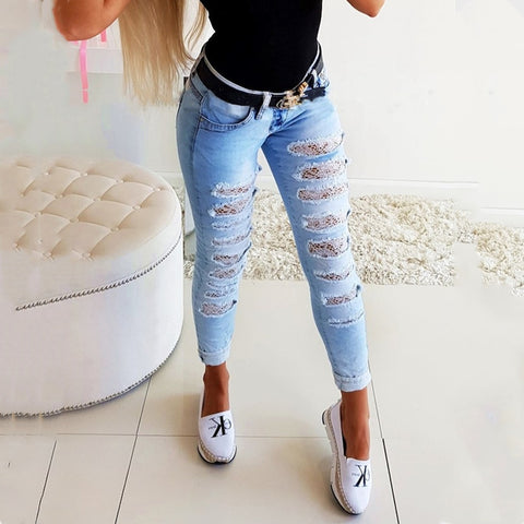 High Waist Slim Ripped Lace Jeans