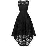 Irregular Sexy Round Neck Sleeveless Lace Dress