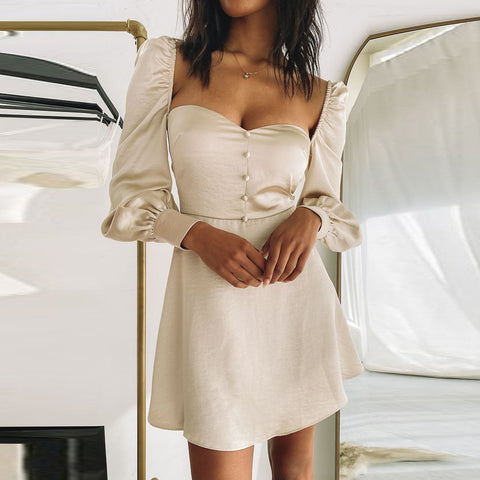 Long Sleeve Solid Color Low Collar High Waist Backless Dress