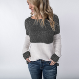 Women Sexy Knitted Round Neck Long Sleeve Top