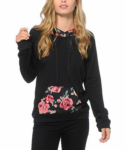 Black Printed Long-Sleeved Hooded Sweater
