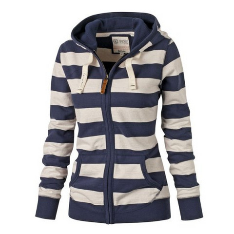 Long-Sleeved Zipper Striped Sweater Jacket
