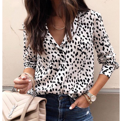 Fashion Print Leopard Button Female Long Sleeve Top Shirt