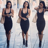 FASHION ROUND NECK SLEEVELESS BLACK DRESS