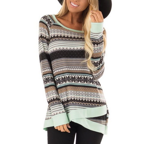 Fashion Long Sleeve Print Sweater