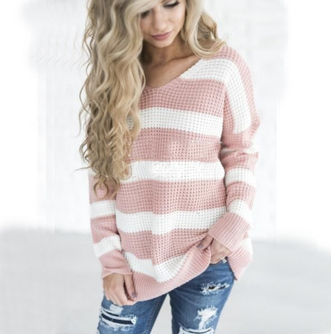 Fashion Women'S Striped Knit Sweater