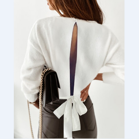 Fluffy Plain Cutout Back Tie Detail Pullover