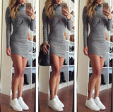 HIGH-NECKED LONG-SLEEVED KNIT DRESS