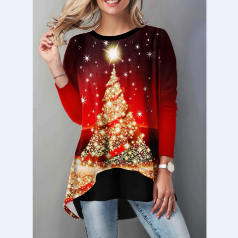 Christmas Tree Print Round Neck Loose Long Sleeve T-Shirt