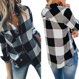 Women'S Long Sleeves Plaid Shirt Top