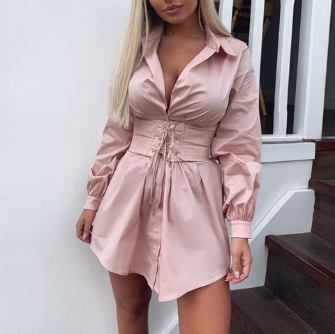Casual Fashion Retro Deep V-Neck Sexy Dress