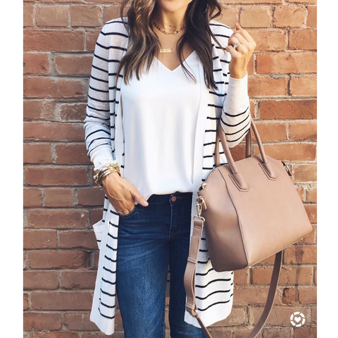 Long Sleeve Striped Cardigan Jacket