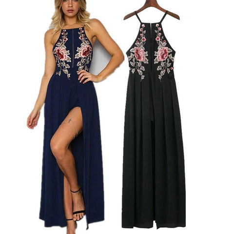 2017 Summer Spaghetti Strap Criss Cross Strappy Back Maxi Dress with Floral Embroidery