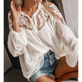 Long Sleeve Sexy V-Neck Lace Shirt