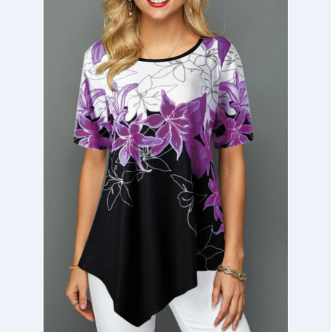 Women'S Printed Round Neck Short Sleeve T-Shirt