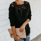 Lace Long-Sleeved Knit Sweater