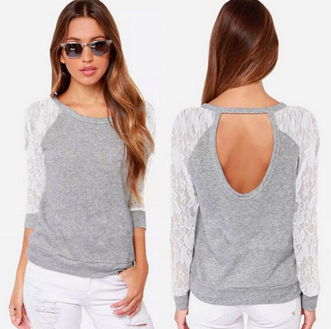 Fashion Long-Sleeved Lace Stitching Round Neck T-Shirt