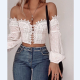 Sexy One-Shoulder Strapless Lace T-Shirt Top