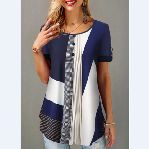 Printed Round Neck Button Short Sleeve T-Shirt