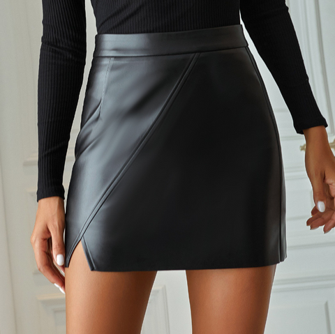 Women'S Casual High Waist Fashion Irregular PU Leather Skirt