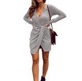V-Neck Women'S Long-Sleeved Dress