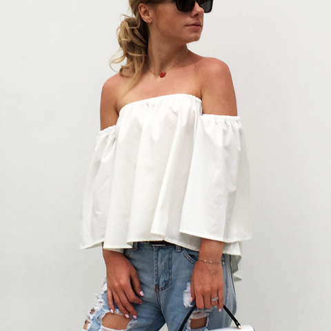2018 Women's Sexy Wrapped Strapless Chiffon Shirt
