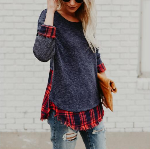 Fashion Long Sleeve Plaid Sweater