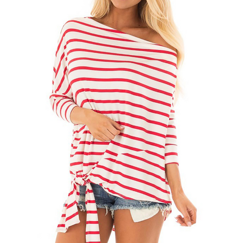 Women'S Stripes Bat Sleeve Loose Casual T-Shirt