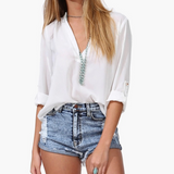 Loose Long-Sleeved V-Neck Chiffon Shirt