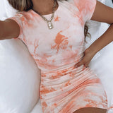 Women'S Fashion Round Neck Slim Short Sleeve Hip Dress