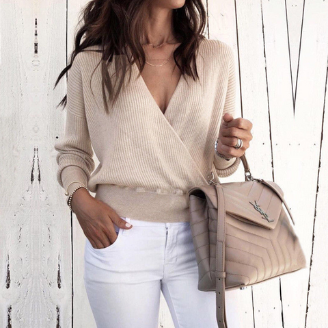 Women'S Solid Color V-Neck Long-Sleeved Sweater