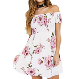 Irregular Printed Short-Sleeved Dress