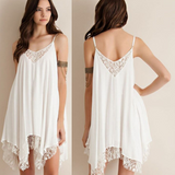 Irregular Chiffon Stitching Lace Dress