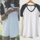 Round neck short-sleeved striped dress
