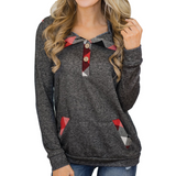 Button Plaid Casual Sweater