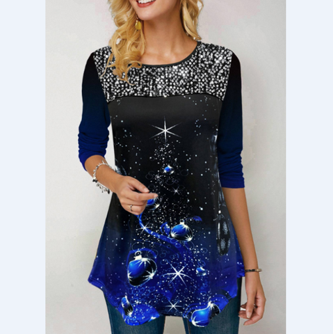 Sweet Print Round Neck Sequined T-Shirt