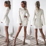 Slim Round Neck White Long Sleeve Dress