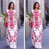 Fashion Round Neck White Printed Chiffon Dress