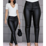 Black High Waist Sexy Leather Pants