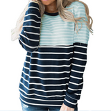 Loose Women'S Striped Long-Sleeved Sweater